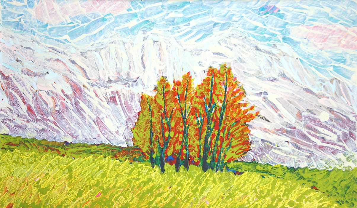 trees, mountains (2007, painting by frank'a waaldijk)