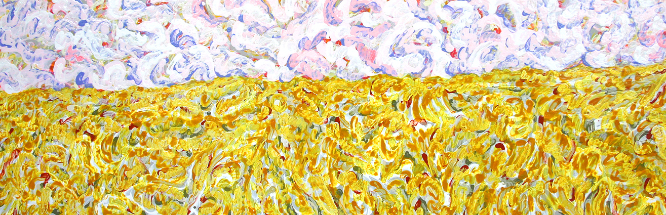 clouds over cornfield (painting by frank waaldijk)