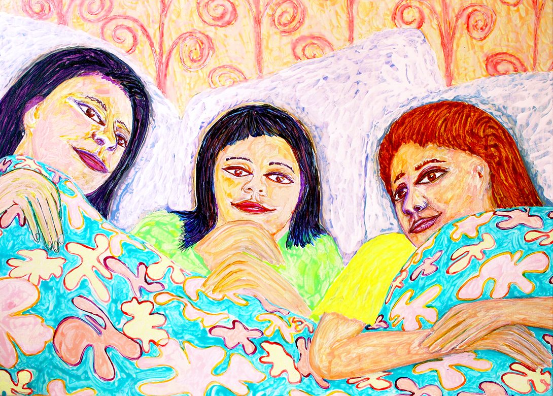 in the family bed (painting by frank waaldijk, 2012)