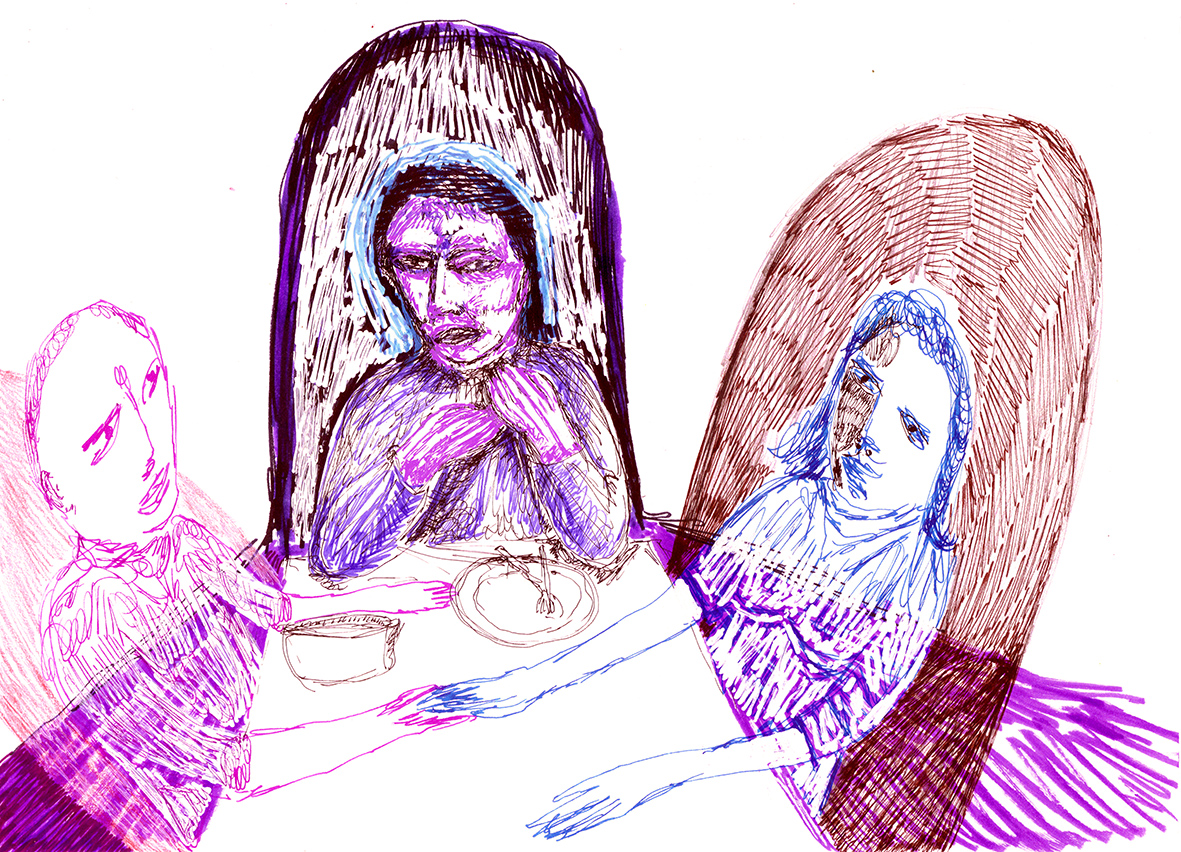 threesome supper (drawing by Frank Waaldijk)