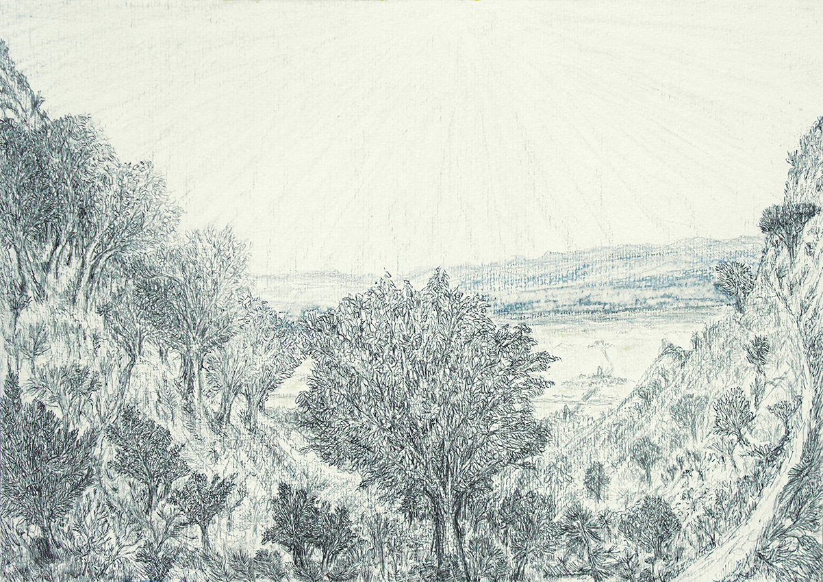 view of the pyrenees from palau-saverdera (tekening van frank waaldijk)